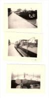 """Ensemble de 3 Photos Originales BATELLERIE """"Morel � Poses"""" -   P�niche ANDRE � quai  -"""