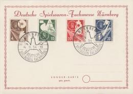 Bund Anlasskarte Minr.167-170 SST Dt. Spielwaren Fachmesse Nürnberg 4.3.54 - BRD