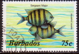 BARBADOS 1986 SG #805B 75c VF Used Imprint 1986 Wmk Mult. Crown Script CA Diagonal Marine Life - Barbades (1966-...)