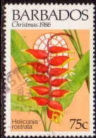 BARBADOS 1986 SG #830 75c VF Used Christmas. Flowers - Barbados (1966-...)