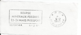 FRANCE. FRAGMENT POSTMARK MINERALS AND FOSSILS. BELFORT - Marcofilia (sobres)