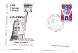 Carte Postale Pierre D HAUDROY Anniversaire Tenacité Du POILU - LA CAPELLE 1968 - Timbre Anniversaire Armistice 1918 - Sin Clasificación
