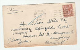 1934 GB GV REDIRECTED COVER Brighton To Mevagissey To Petersfield Via Kensington , Stamps - 1902-1951 (Rois)
