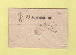 Debourse De Marseille - Marque D Arrivee 25 (plume) Novembre 1818 (tampon) - 12 - Bouches Du Rhone - Lettre De Longjumea - 1801-1848: Precursori XIX
