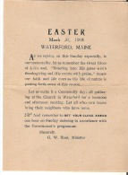Easter Church Service March 1931, Waterford, Maine Reminder To Set The Clock Ahead - Programs