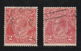 1922 2d Bright Rose-scarlet/Dull rose-scarlet VFU Sg 63/63a
