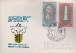 Sp 486) DDR Mi# 1489, 1490 SSt Dresden 13.6.1979: XVII. Intern. Olympischer Tag Der  Leichtathletik - Leichtathletik