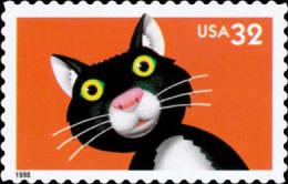 #3232 USA 1998 Bright Eyes Stamp-Cat Pet Animal - Childhood & Youth