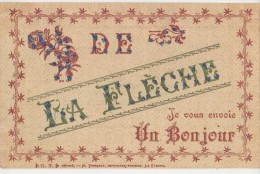 CPA 72 LA FLECHE Souvenir Fantaisie Un Bonjour Carte Colorisée à Paillettes 1907 - La Fleche