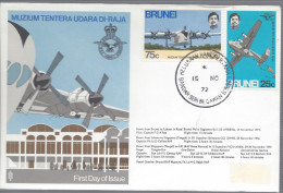 FDC 15 11 1972 Avion Quadrimoteur Muzium Tentera Udara Di Raja Avion Aviation - Brunei (1984-...)