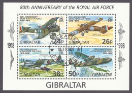 Gibraltar 1998 80th Anniversary Of The Royal Air Force - Airplanes, Military Planes, R.A.F. War, Avion, Block Cancel MNH - Gibraltar