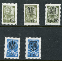 1993 Ukraine Local Post; MELITOPOL Black TRIDENT Overprints On USSR Small Definitive Stamp Set Of 5 - Ukraine