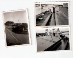 """3 Photos Originales BATELLERIE """"Morel � Poses"""" -  Mariniers sur les P�niches  -"""