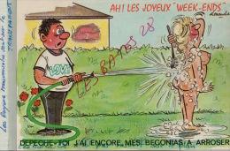 CPA Fantaisies Humour Dessinateur  Alexandre AH! LES JOYEUX WEEK-ENDS   Dépéche-toi   J'ai Encore  ...AVR 2015 085 - Alexandre