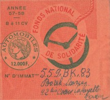 VIGNETTE AUTOMOBILE / 57- 58 TAXE DE 12000 F. DE 8 A 11 CV     TDA43