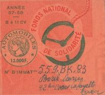 VIGNETTE AUTOMOBILE / 57- 58 TAXE DE 12000 F. DE 8 A 11 CV     TDA43 - Titres De Transport