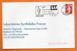 94 ARCUEIL 20° ANNIV. DU CENTRE CULTUREL ERIK SATIE   7 / 6 /1991 Carte N° R 591 - Mechanical Postmarks (Advertisement)