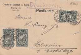 Deutsche Reich 1923 - Inflafrankierung 3 x 5000 M auf Pk gel. Brtenig > Schwerin
