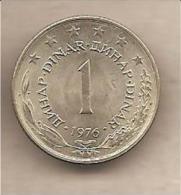 Jugoslavia - Moneta Circolata Da 1 Dinaro - 1976 - Yugoslavia