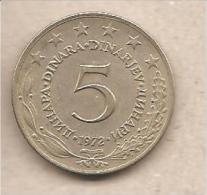 Jugoslavia - Moneta Circolata Da 5 Dinari - 1972 - Yugoslavia