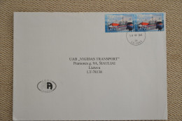 Cover Sent From Latvia To Lithuania Port Ships Cow - Letonia