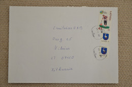 Cover Sent From Latvia To Lithuania Coat Of Arms Sport Storks Birds - Letonia