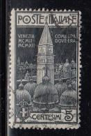 Italy Used Scott #124 5c Campanile, Venice, Indigo - Usati