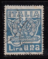 Italy Used Scott #162 1 L Wreath Of Victory, Eagles And Fasces, Blue - Usati