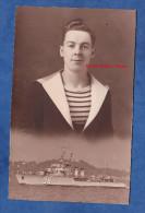 Photo ancienne - Portrait d'un Marin et de son navire de guerre - 1932 - Toulon ? - Bateau Militaire - Marine Nationale