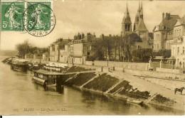 167.LL -  Blois, Les Quais -timbre Recto 1913 - Blois
