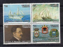 Navigation Old Vessels Ship Boats Sea Arms Of Cadiz Uruguay Sc#2149 MNH STAMP - Barche