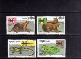 KAMPUCHEA - CAMBOGIA CAMBODIA 1993 FAUNA ANIMALS ANIMALI USED USATI OBLITERE´ - Kampuchea