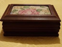 Petite Boîte à Bijoux, Bois Et Tissu, Avec Miroir - Arte Popolare