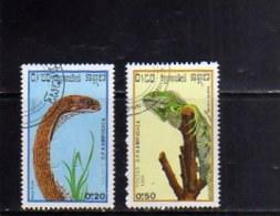 KAMPUCHEA - CAMBOGIA CAMBODIA 1988 REPTILES FAUNA ANIMALS ANIMALI RETTILI USED USATI OBLITERE´ - Kampuchea
