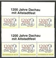 1200 Jahre Dachau, 2005, 2x3er-Mittelstück, 1.+2. Ausgb.,** - Austria