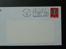 09/01/2015 Meilleurs Voeux Flamme Monaco Sur Lettre Postmark On Cover - Storia Postale