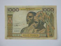 1000 Francs 1959-1965- COTE D´IVOIRE - Banque Centrale Des Etats De L´Afrique De L´Ouest  **** EN ACHAT IMMEDIAT **** - Côte D'Ivoire