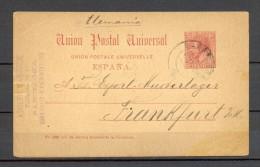 1889 BARCELONA, ENTERO POSTAL ED. 15, CIRCULADO A FRANKFURT - 1850-1931