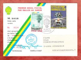 Ballonpost Famoela-Vogt, Wolfgang Von Zeppelin, Motiv-Sonderstempel - Und Marke, Libreville Nach Viernheim 1974 (75050) - Gabun (1960-...)
