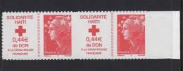 FRANCE 2009 Bloc Deux Autoadhésifs (2) N°YT 388** (4434) TVP 20gr+0.44€ Solidarité Haiti Marianne Beaujard Don Croix Ro - France