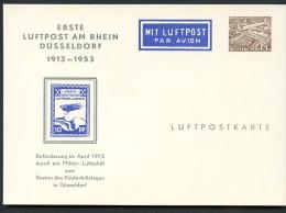 BERLIN PP7 C2/001 Privat-Postkarte 1. LUFTPOST AM RHEIN FLUGMARKE ** 1953  NGK 25,00 € - Private Postcards - Mint