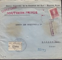 Argentina Registred Certificado Label Shipsmail S/S Southern Prince BANCO HOLANDÉS BUENOS AIRES 1930 Cover Letra 2 Scans - Argentinien