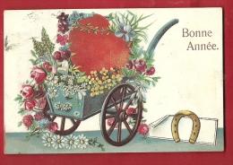 EVX-12  Charrette Du Marchand De Fleurs, Bonne Année, Fer à Cheval. Gaufré, En Relief. Cachet 1905 - Nouvel An