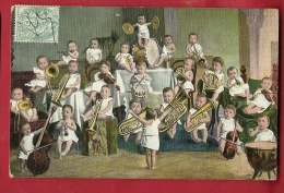 EVX-20 Ensemble De Cuivres, Batterie Et Violons Par Un Groupe De Bébés. Affranchissement Frontal, Cachet Tarare 1908 - Bébés
