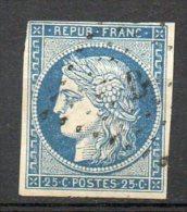 FRANCE - 1849-50 - Type Cérès - N° 4 - 25 C. Bleu - (Oblitération : Losange  Petits Chiffres) - 1849-1850 Cérès