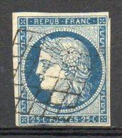 FRANCE - 1849-50 - Type Cérès - N° 4 - 25 C. Bleu (Oblitération Grille) - 1849-1850 Cérès
