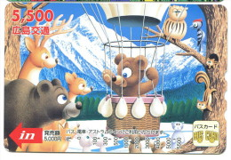 Japon - Titre de transport Bus Card : Ours, montgolfi�re...