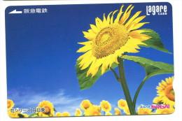 Japon - Titre De Transport Lagare : Fleurs (tournesols) - Chemins De Fer