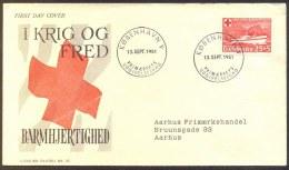 DENMARK - RED CROSS - HOSPITAL SHIP JUTLANDIA - FDC -1951 - WW1