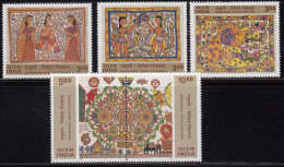 India MNH 2000, Set Of 5, Se-tenent Madhubani Mihila Paintings, Flower Girls, Dandiya Folk Dance, Elephant, Fish, Lotus - India